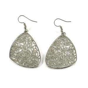 Gorgeous Silver Tone Floral Design Earrings